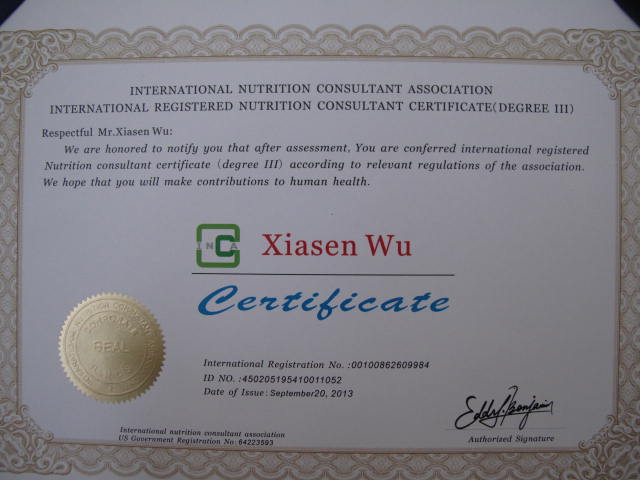 My International registered Nutrition Consultant Certificate