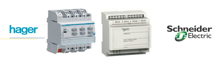 State of the art smart health homes smart health home Konnex TXA-206B module from Hager 6 outputs 10A module allowing among other things, to control a watering solenoid valve as well as an 8 outputs module (ALB06121) of the Schneider Electric IHC system