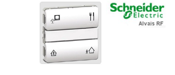 State of the art smart health homes smart health home effector 4-channel transmitter push-button sold by Alombard a Schneider Electric subsidiary using Alvaïs RF technology